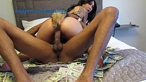 big black dick fucking asian on a bed of money