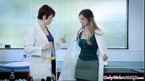Redhead scientist pussylicked by lesbian babe