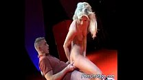 Nast babe does porn on stage