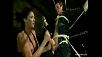 Shemale ties him up, surprises his ass with her cock and milks him in bondage