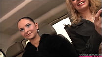 Two bitches pick up amateur guy for fuck and cum in their fuck bus