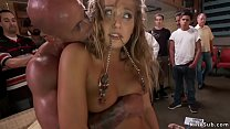 Hot blonde Euro slave banged in public