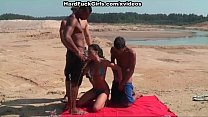 young brunette fucked on the beach in all holes preview image