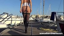 Sexy Pirate Elisa showing her buttplut outdoors thumbnail