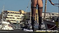 Image: Sexy Pirate Elisa showing her buttplut outdoors