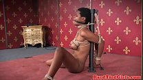 Ebony sub suspended with rope in bdsm duo preview image