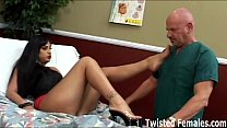 Hurting anal fuck from monster long black cock in lucious brunette teen ass