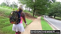 Public Ebony Blowjob Big Tits Out Flashing Pussy And Round Butt Walking Blonde