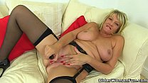 British gilf Amy fucks herself with a dildo