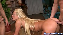 Assfucked babe swallows a load of cum in fmm image