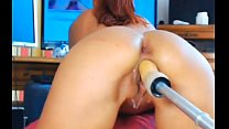Horny young teen squirting with fuck machine on funcamsxxx.com thumbnail