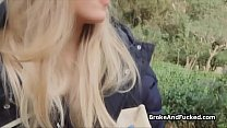 Beautiful bookworm blows thick dick outdoors thumbnail