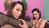 Hot lesbian chicks riding two different strap on dildos