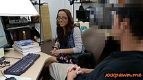 Amateur college babe with glasses pounded by pawn man