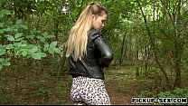 Perky tits amateur Eurobabe nailed by fat cock in the woods video