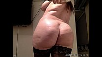 Chubby brunette rides dildo on webcam