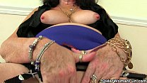 British grannies Zadi and Pearl in stockings with suspenders