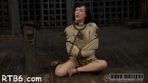 Pretty babe's pleasing teats receives painful torturing