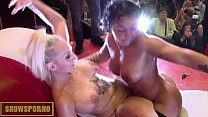 Lesbian orgy on stage and under stage