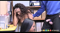 Two Young Black Ebony Teen Sisters Caught Shoplifting Threesome With Guard Vorschaubild