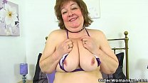 UK granny Susan strips off and dildo fucks her ...