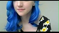 crazyamateurgirls.com - Blue haired girl in flowers plays with tits - crazyamateurgirls.com