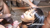 nasty 18yr blasian star newbie gets gangbanged