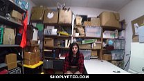 Shoplyfter - hipster teen gets caught between two cocks