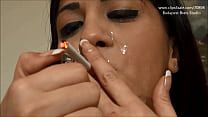 Girl Smoke with Cum on Mouth thumb