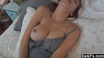 Busty wife excites her husband and sucks her cock