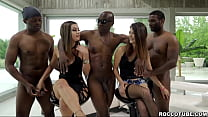 Martina Smeraldi and Sara Bell are ganged up by 3 huge black dicks. Messy ass to mouth and double anal penetration that will make their holes gape.
