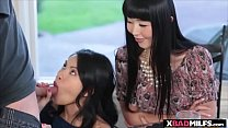 Asian stepmom and her exotic stepdaughter gets a threesome's Thumb