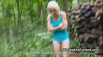 Amateur blonde fucked in the forest thumbnail