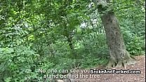 Amateur blonde fucked in the forest preview image