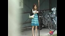 Cute Asian got her panties locked to the pole sharking video