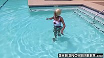 I'm Hanging Out At The Pool On My Day Off Then Get Undressed, Watch My Freaky Ass Get Naked, Hot Ebony Msnovember Pulls Down Panties And Jiggles Bubble Butt Cheeks on Sheisnovember صورة