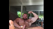 HUGE Dick Bodybuilder Flex and Jerk Off on Couch. Hot Alpha Musclebear Sexy