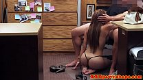 Tattooed latina pawnshop girl cocksucking