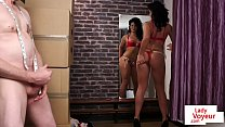 Brit voyeur instructing sub from changeroom