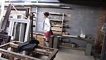 Lost schoolgirl fucked hard in a factory yard by two big dick guys fantasy