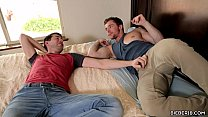 Lusty couple having bareback gay intercourse