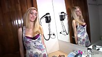Babe is so horny she doesn't mind talking to her brother while riding cock image