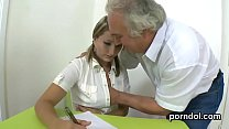Lovesome college girl gets seduced and plowed by her older schoolteacher