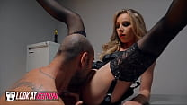 Dirty uniformed French flight attendant (Angel Emily) inspires naughty fantasies and craves big cock - Look at her Now