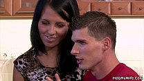 Sexy brunette cuckold husband with friend preview image