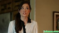 Passionate brunette moans with approval while g... thumb