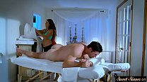 MILF masseuse drilled by lucky customer
