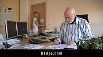 Old boss evaluates his young secretary with fuck thumb