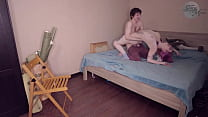 Сuckold husband caught his young slutty wife fucking with some guy [ENG subs]