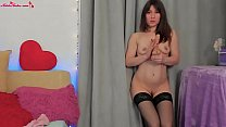 Shy Girl in Stockings Fingering and Play with Dildo